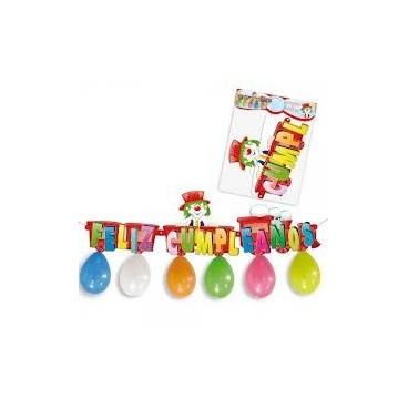 """Cartel """"Feliz Cumpleaños"""" y 7 globos"""
