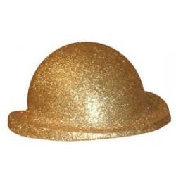 Sombrero Bombín Escarcha Oro