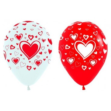 Globos Bicolor San Valentín dibujo Corazón, 25 un.