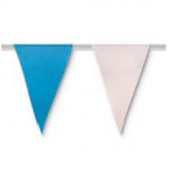 Bandera triangulo plástico Blanco y Azul, 50 mts.