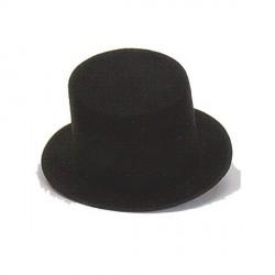 Sombrero Chistera Fieltro  Negra con Cinta Negra