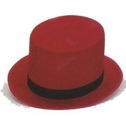 Sombrero Chistera Fieltro Rojo con Cinta Negra