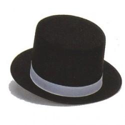 Sombrero Chistera Fieltro Negro con Cinta Blanca