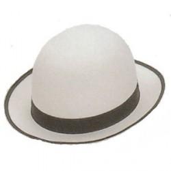 Sombrero Bombín Fieltro Blanco con Cinta Negra
