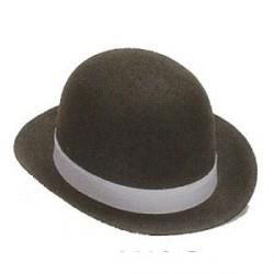 Sombrero Bombín Fieltro Negro con Cinta Blanca