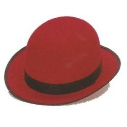 Sombrero Bombín Fieltro Rojo con cinta Negra