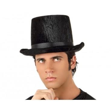 Sombrero Copa Terciopelo Color Negro