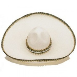 Sombrero Mejicano Fieltro Grande Blanco