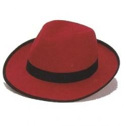 Sombrero Gánster Fieltro Rojo Grande