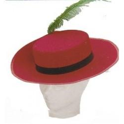 Sombrero Mosquetero Fieltro Rojo