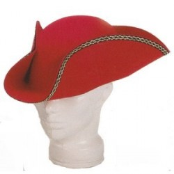 Sombrero Tres Picos Fieltro Rojo
