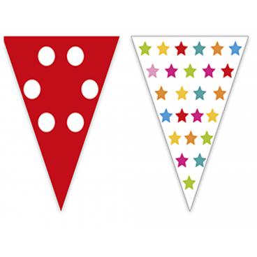 Banderas triangulares plastico colores, 15 mts.