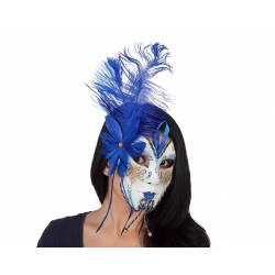Mascara Veneciana Plumas Azul