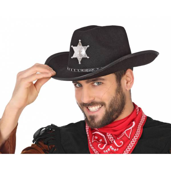 Carnavalandia tienda disfraces Sombrero Cowboy Negro 5c63e03e228