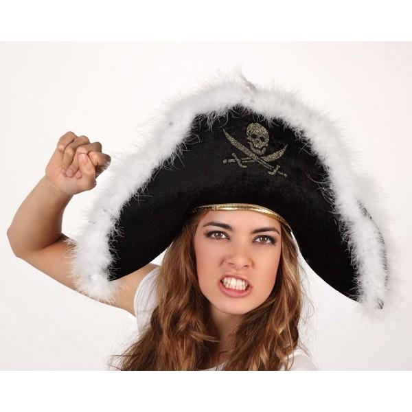 Carnavalandia tienda disfraces Sombrero Pirata con Plumas y Calavera d7194637b84