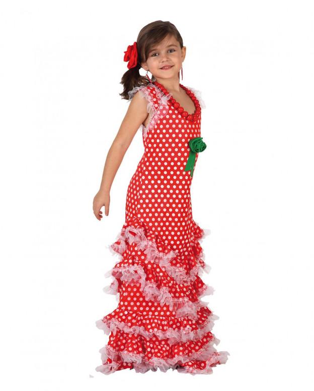 Disfraz de Sevillana roja para niñas