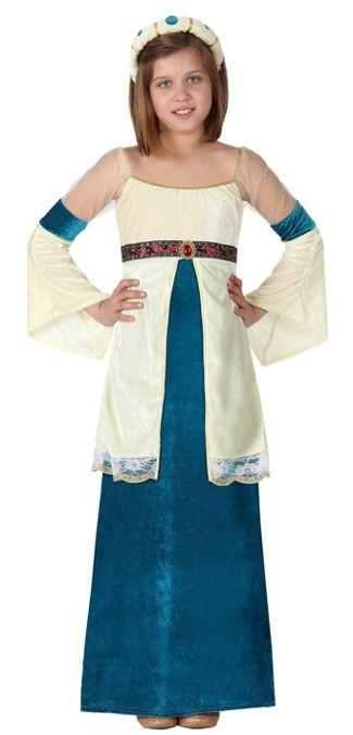 Disfraz de Dama Medieval Azul para niñas